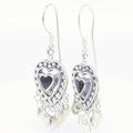 Vintage 925 Silver Black Heart 45MM Fish Hook Chandelier Earrings