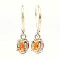 Estate 925 Silver Yellow Tone Orange Oval Cut Citrine French Back Earrings