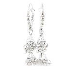 Exquisite Vintage Estate Ladies 925 Silver Bead Hoop Chandelier Earrings - 55MM