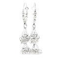 Vintage 925 Silver Bead 55MM Hoop Chandelier Earrings
