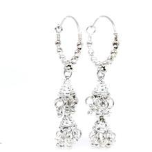 Exquisite Vintage Estate Ladies 925 Silver Bead Hoop Chandelier Earrings - 55MM