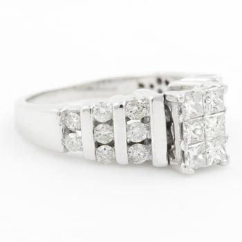Vintage Estate 14K White Gold Diamond 1.20CTW Princess Cut Engagement Ring