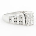 Vintage Estate 14K White Gold Diamond 1.20CTW Princess Cut Engagement Ring