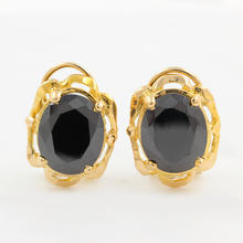 Vintage Estate 18K Yellow Gold Onyx Gemstone Omega Back Earrings