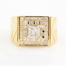 Men's Estate Retro 18K Yellow Gold Princess Cut Diamond 1.50CTW Ring