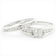 Classic Modern 14K White Gold Princess Cut Diamond Wedding Ring Duo Set
