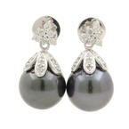 Estate 14K White Gold Black Tahitian Pearl Diamond Drop Push Back Earrings