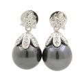 Estate 14K White Gold Black Tahitian Pearl Diamond Drop Push Back Earrings