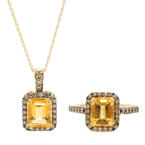 Modern Le Vian 14K Yellow Gold Citrine Chocolate Diamond Necklace Pendant Ring Set