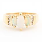 Modern Ladies 14k Yellow Gold Opal Marquise Cut Diamond Right Hand Anniversary Ring