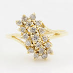 Classic Womens Vintage 14K Yellow Gold Diamond 0.50CTW Cluster Cocktail Ring