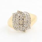 Vintage Retro 10K Yellow Gold Diamond Right Hand Cocktail Ring