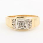 Handsome Men's Vintage 14K Yellow Gold Diamond 0.15CTW Ring Jewelry