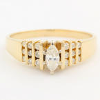 Classic Ladies 14K Yellow Gold Marquise Diamond 0.75CTW Right Hand Ring Jewelry