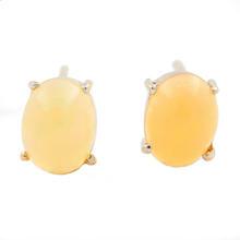Modern 14K White Gold Opal Push Back Stud Earrings