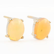 Modern 14K White Gold Opal Push Back Stud Earrings