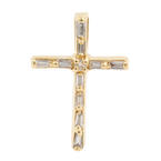 Classic Estate 14K Yellow Gold Diamond 20MM Cross Pendant