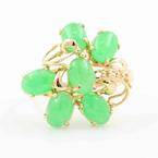 Fine Vintage Estate 14K Yellow Gold Jade Cabochon 2.40CTW Cluster Cocktail Right Hand Ring