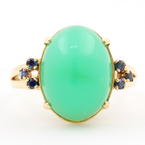 Fine Vintage Estate Retro 14K Yellow Gold Jade Cabochon Blue Spinel Cocktail Ring