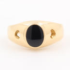 Fine Vintage Estate Ladies 18K Yellow Gold Onyx Ring