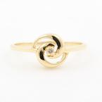 Estate 14K Yellow Gold Diamond Solitaire Swirl Right Hand Ring