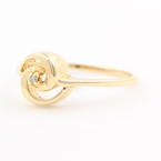 Vintage Classic Estate 14K Yellow Gold Diamond Solitaire Swirl Ring