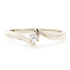 Classic 10K White Gold Marquise Cut Diamond Solitaire Bypass Engagement Ring
