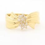 Estate Ladies 18K Yellow Gold Diamond 0.23CTW Cluster Right Hand Ring