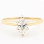 Classic 14K Yellow Gold Marquise Cut Diamond Solitaire 0.40CTW Engagement Ring