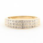 Classic Estate 10K Yellow Gold Diamond Channel Set 0.20CTW Right Hand Ring Band