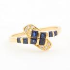 Estate 14K Yellow Gold Blue Spinel Diamonds 0.45CTW Right Hand Cocktail Ring