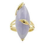 Vintage Estate 14K Yellow Gold Lavender Cabochon Jade Cocktail Right Hand Ring