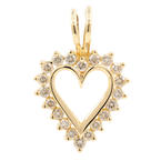 NEW Modern 14K Yellow Gold Diamond 1.00CTW Open Heart 45MM Pendant