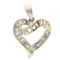 Classic Ladies 14K White Gold Diamond Heart 30MM Pendant