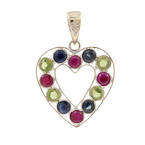 Classic Womens 18K White Gold Red Blue Green Spinel Heart Pendant