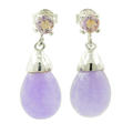 Estate Ladies 925 Silver Lavender Jade and Amethyst Drop Push Back Earrings Jewelry