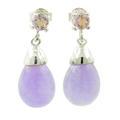 Estate Ladies 925 Silver Lavender Jade and Amethyst Drop Push Back Earrings Jewelry