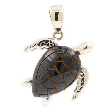 Modern Estate 14K White Gold Black Cotal Turtle 25MM Pendant