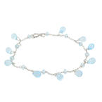 "Classic Ladies 18K White Gold Blue Topaz Briolette Gemstone 7""  Bracelet"