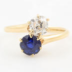 Vintage Estate 14K Yellow Gold Old Mine Cut Diamond Sapphire Right Hand Ring