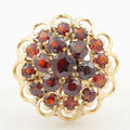Retro Vintage Estate 14K Yellow Gold Garnet 3.15CTW Right Hand Cocktail Ring