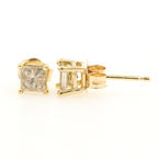 Modern 14K Yellow Gold Princess Cut C2 Diamond 0.60CTW Push Back Earrings Studs
