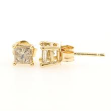 Modern 14K Yellow Gold Princess Cut C2 Diamond 0.60CTW Push Back Earrings Studs