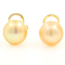 Classic 14K Yellow Gold 10.5MM Pearl Stud Earrings