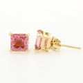 NEW Modern 14K Yellow Gold Princess Cut 1.00CTW Pink Quartz Push Back Earrings