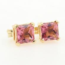 NEW Modern 14K Yellow Gold Princess Cut 1.00CTW Pink Quartz Push Back Earrings