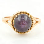 Vintage Estate 14K Yellow Gold Purple Sapphire Cabochon 4.35CTW Cocktail Ring
