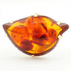 Estate 14K Yellow Gold Amber Leaf Right Hand Cocktail Ring Size 7