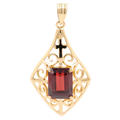 Vintage Estate 18K Yellow Gold Garnet Emerald Cut 2.89CTW Ornate Pendant