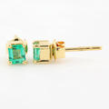 Classic Estate 18K Yellow Gold Emerald 0.80CTW BirthStone Push Back Earrings